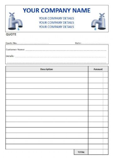 Plumbers NCR Quote Pads, 2 Column Lined